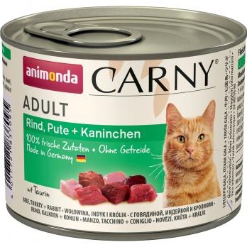 Animonda Carny Adult кон.д/кошек с Говядиной, Индейкой и Кроликом 200г