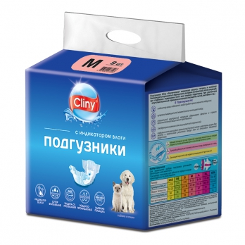 Cliny Подгузники для собак и кошек M 5-10кг 1шт