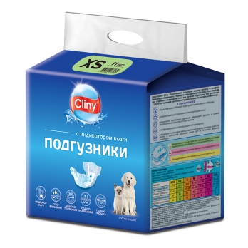 Cliny Подгузники для собак и кошек XS 2-4кг 1шт