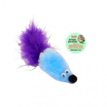 GoSi 07140 Игрушка д/кошек Мышь с мятой голубой мех с хвостом перо
