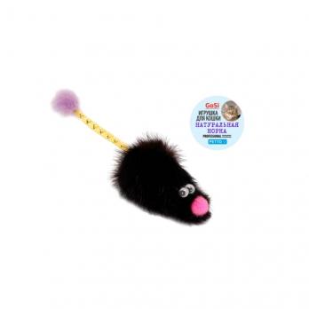 GoSi 07156 Игрушка д/кошек Мышь норка М с хвостом трубочка с норкой