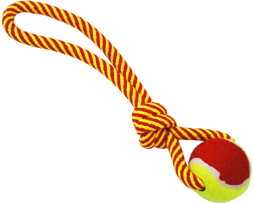 N1 Игрушка для собак Грейфер веревка плетеная с мячом 33см