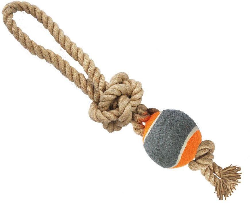 N1 Игрушка для собак Грейфер веревка плетеная с мячом и ручкой 32см