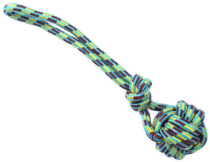 N1 Игрушка для собак Грейфер веревка с плетеным мячом и и ручкой 40см