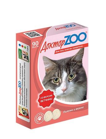 Доктор ЗОО м/в Лакомство д/кошек с биотинов со вкусом ветчины 90т