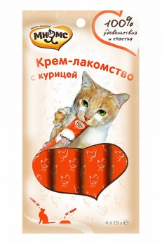 Мнямс Крем-лакомство для кошек с курицей 15 г х 4 шт.