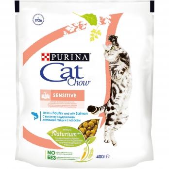 Cat Chow Sensitive для взрослых кошек с чувствительной пищеварительной системой с лососем