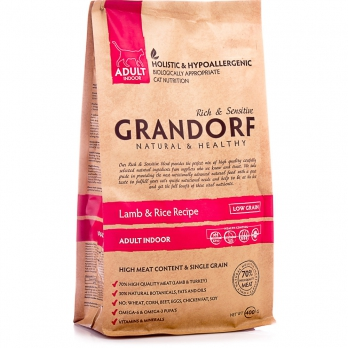 Grandorf INDOOR Для домашних кошек, Ягненок с рисом