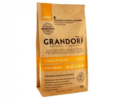 Grandorf STERILIZED PROBIOTIC Для стерилизованных взрослых кошек, 4 вида мяса с пробиотиками