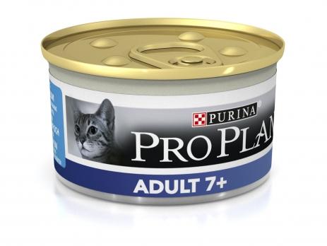 Pro Plan Adult 7+ консервы мусс для кошек старше 7 лет с тунцом 85 г (банка)