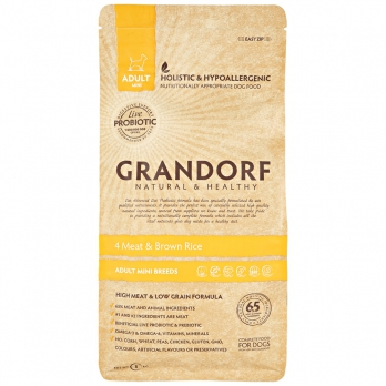 Grandorf Mini PROBIOTIC сухой корм для взрослых собак мелких пород, 4вида мяса с пробиотиками