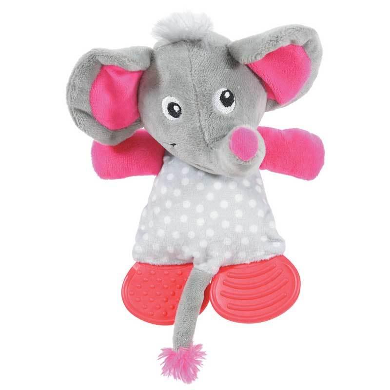 Золюкс Игрушка плюшевая для щенков, слоник с резиновыми вставками (серая) (480073GRI)