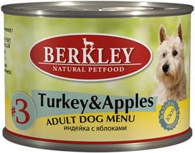 Berkley консервы для собак №3 Индейка с яблоками 200г