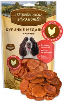 Деревенские лакомства для собак Куриные медальоны сушеные 90г