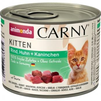 Animonda Carny Kitten кон.д/котят с Говядиной, Курицей и Кроликом 200г