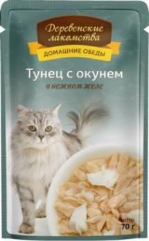 Деревенские лакомства пауч для кошек Тунец с окунем в нежном желе 70г