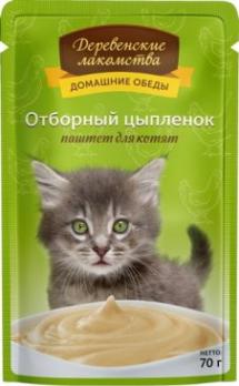 Деревенские лакомства пауч для котят Отборный цыпленок паштет для котят 70г