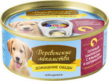 Деревенские лакомства консервы для щенков Домашние обеды Сочный цыпленок с языком и шпинатом 100г