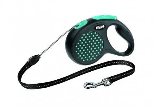 Flexi Рулетка-трос для собак до 20кг, 5м, голубая (Design M Cord 5 m, blue)