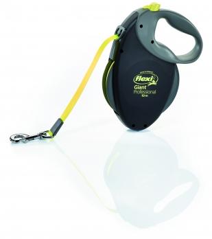 Flexi Рулетка-ремень для собак крупных пород, до 50 кг , 10м (Giant L Professional Neon tape), черная+неон