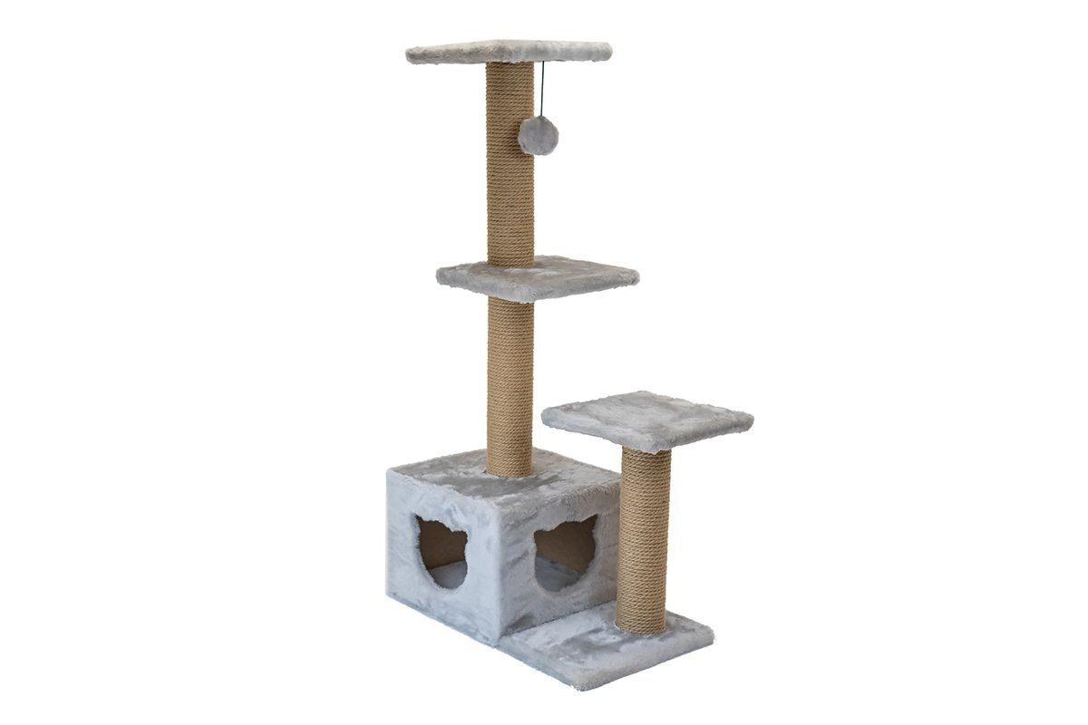 Дарэлл 833217 Домик-когтеточка Джут 95 3-х уровневый квадратный, серый 65*36*112см