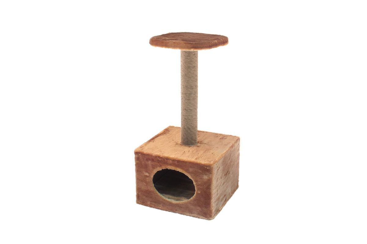 Дарэлл 8340 ЧИП Домик-когтеточка Куб малый с полкой, столбик джут 36*35*h71см
