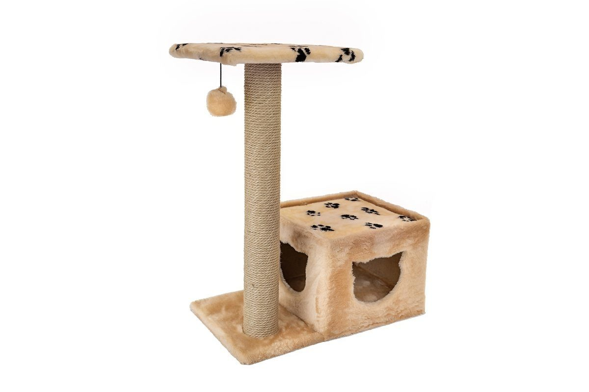 Дарэлл 833116 Домик-когтеточка Джут 95 квадратный с удлинённым столбом, бежевый 66*36*79см