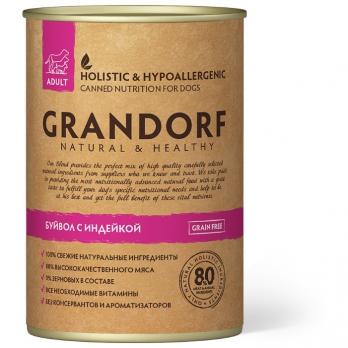 Grandorf консервы для собак, буйвол с индейкой 400г