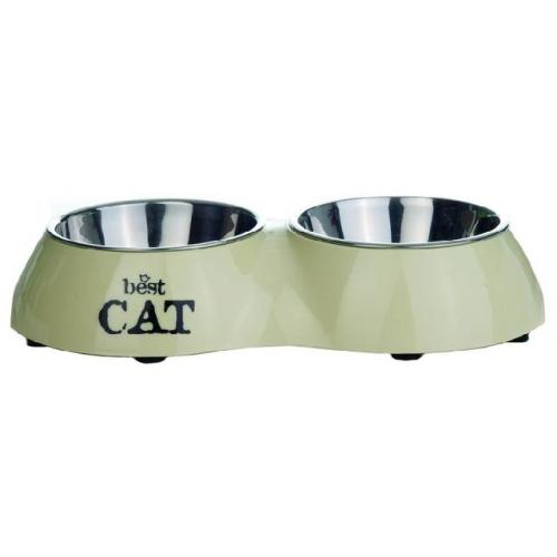 Beeztees Best Cat Миска 2в1 для кошек двойная бежевая 160мл*26,5*15см