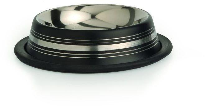 Beeztees Миска для кошек стальная нескользящая черная в полосочку 180мл*11см