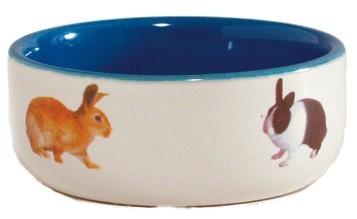 Beeztees Миска керамическая с изображением кролика, голубая 300мл*11,5см