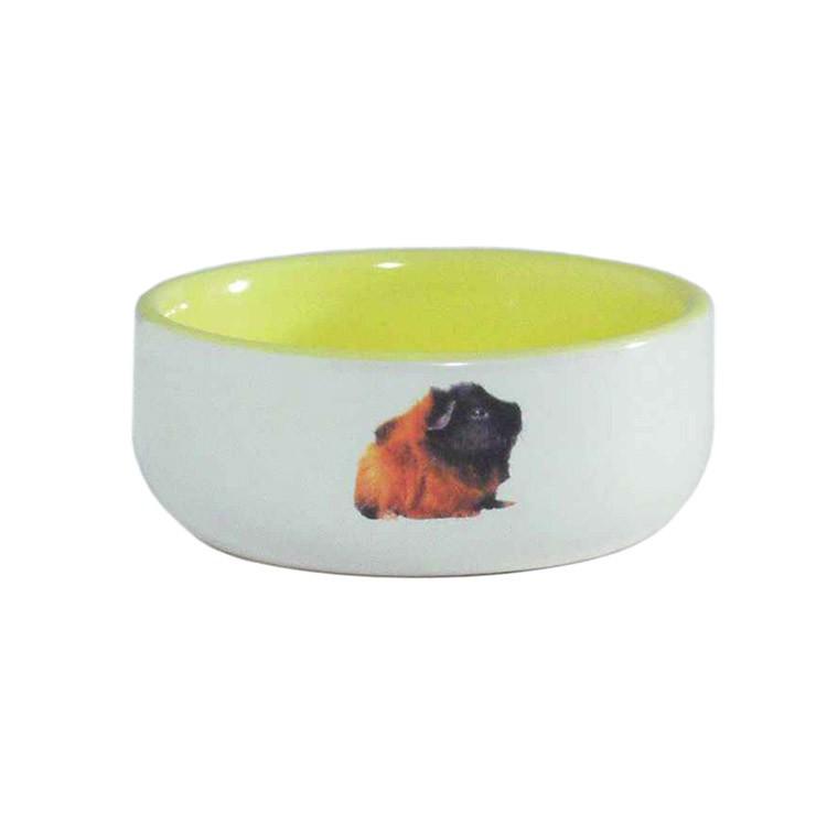 Beeztees Миска керамическая с изображением морской свинки, желтая 160мл*10см