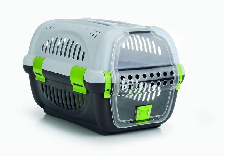 Beeztees Переноска для транспортировки животных серо-зеленая 51*34,5*33см