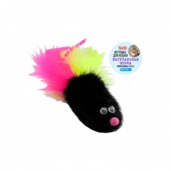 GoSi Игрушка для кошек Мышь норка М с хвостом перо пышное