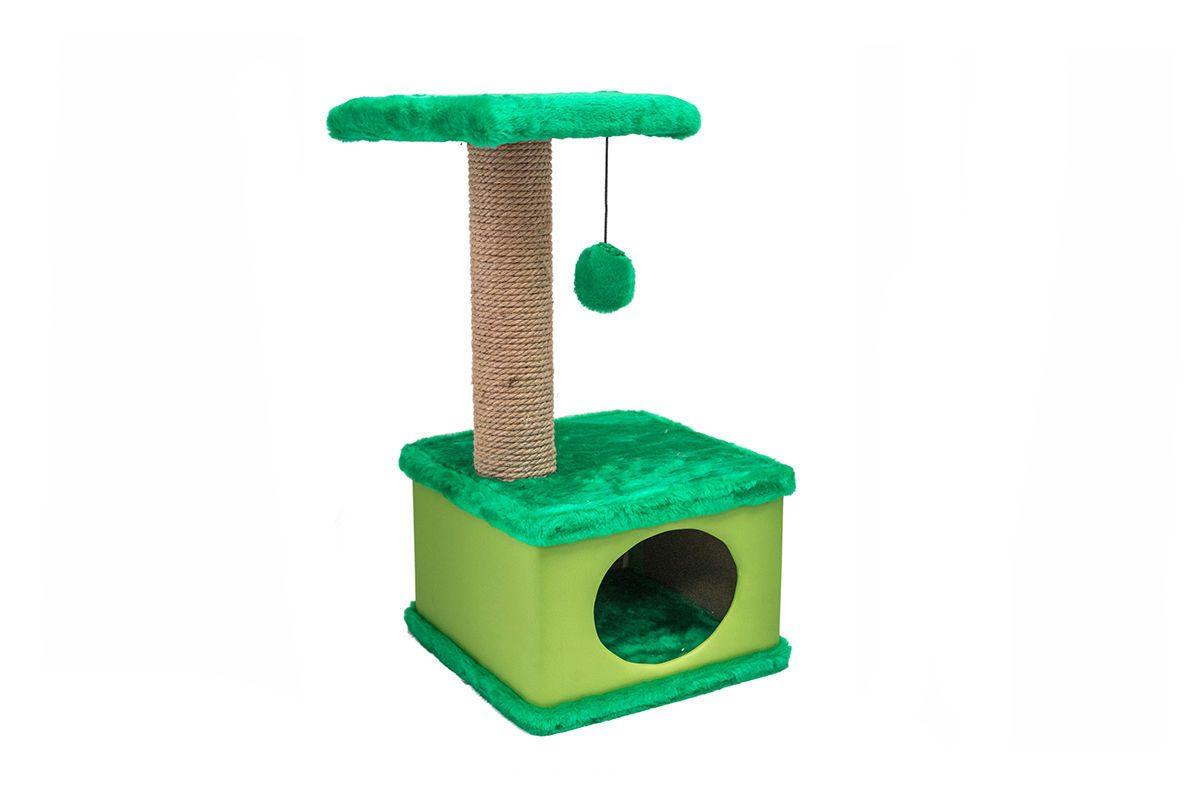 Дарэлл 81115 Домик-когтеточка Конфетти квадратный, зеленый 41*37*h70см