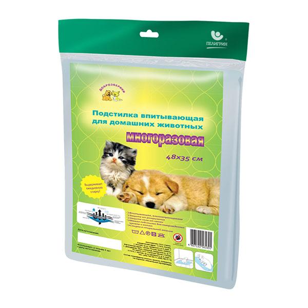 Пелигрин Доброзверики Подстилка впитывающая для домашних животных многоразовая 48*35