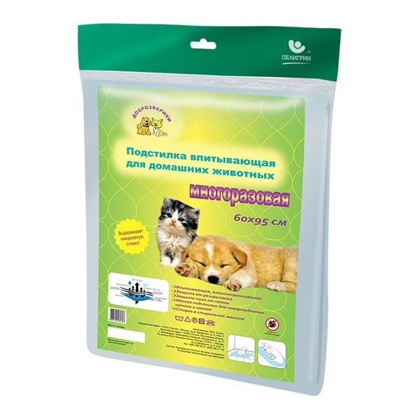 Пелигрин Доброзверики Подстилка впитывающая для домашних животных многоразовая 60*95