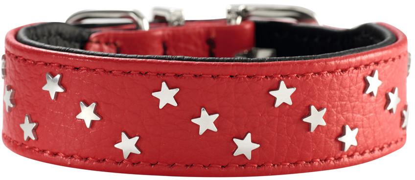 Hunter ошейник для собак Capri Mini Звезды 32 (24-28,5 см) кожа, красно-черный