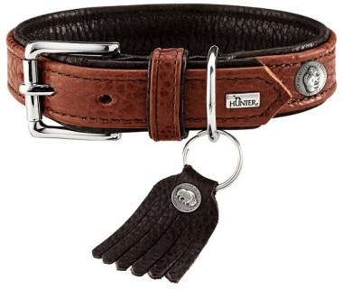 Hunter ошейник для собак Cody 45 (33-39 см)/2,8 кожа бизона коньячный/темно коричневый