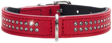 Hunter ошейник для собак Diamond petit 27 (20-24 см) кожа 2 ряда страз красный