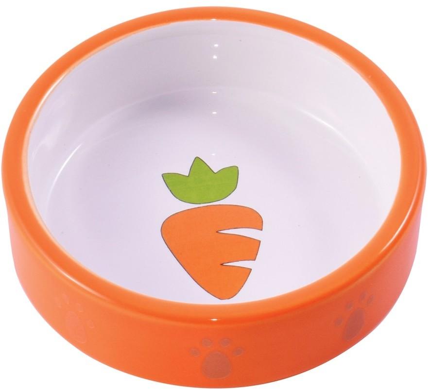 КерамикАрт миска керамическая для грызунов 70 мл Оранжевая с морковью