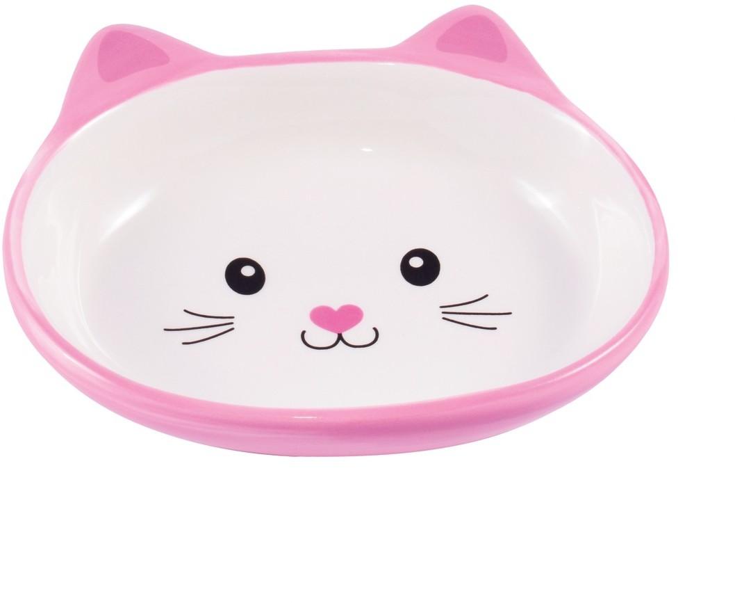 КерамикАрт миска керамическая для кошек 160 мл Мордочка кошки розовая