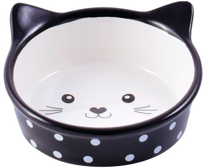 КерамикАрт миска керамическая для кошек 250 мл Мордочка кошки черная в горошек