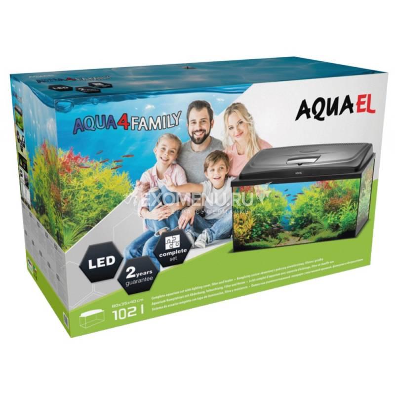 AQUAEL Аквариум AQUA4 HOME 100 фигурный 170 л, (100х42х59 см), фильтр Fan-3, нагр. PLATINIUM 150 Вт, съемный светодиодный модуль Retro Fit Leddy Tube SUNNY 16 W / 6500 К - 2 шт