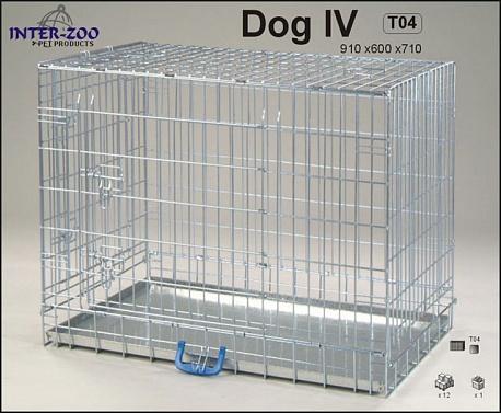 Клетка InterZoo T-04 Dog 4 ZINC (910х600х710), для собак, прут цинк