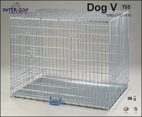 Клетка InterZoo T-05 Dog 5 ZINC (1060х710х810), для собак, прут цинк