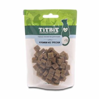 TiTBiT Вяленые лакомства для кошек, кубики из трески
